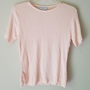 Pink Knit Fitted Tee